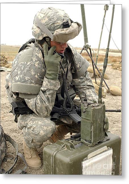 Prc-77 Greeting Cards - U.s. Army Soldier Performs A Radio Greeting Card by Stocktrek Images