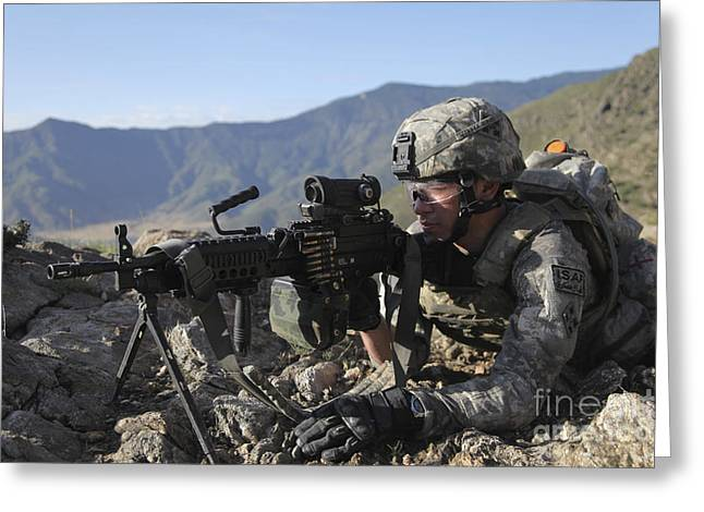Bipod Greeting Cards - U.s. Army Soldier Provides Overwatch Greeting Card by Stocktrek Images