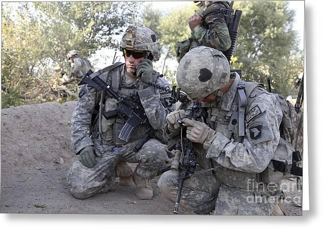 Transmitter Greeting Cards - U.s. Army Soldier Radios In His Teams Greeting Card by Stocktrek Images