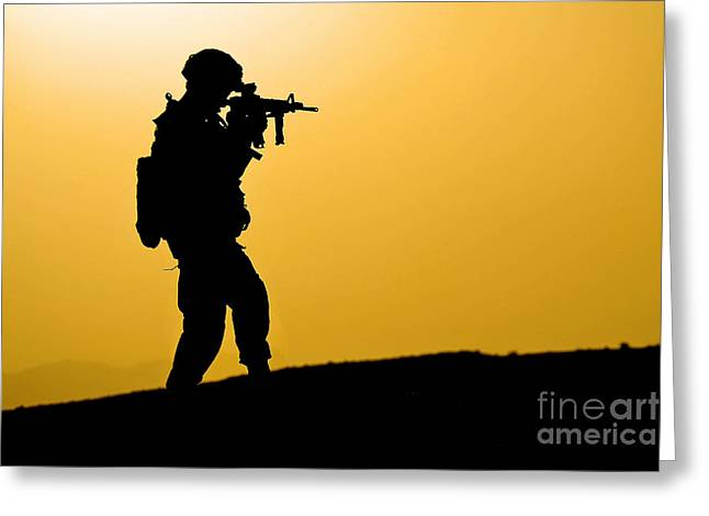 Zabul Greeting Cards - U.s. Army Soldier Secures An Area Greeting Card by Stocktrek Images
