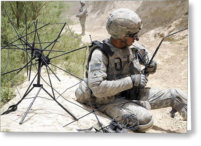 Zabul Greeting Cards - U.s. Army Soldier Sets Up A Tactical Greeting Card by Stocktrek Images