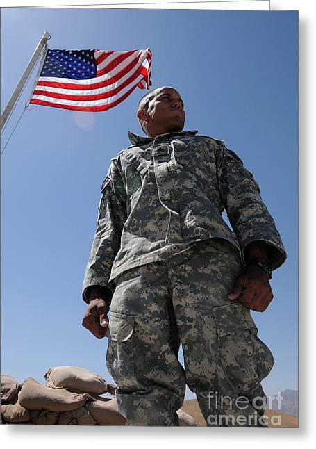 Zabul Greeting Cards - U.s. Army Soldier Taking In The Sun Greeting Card by Stocktrek Images