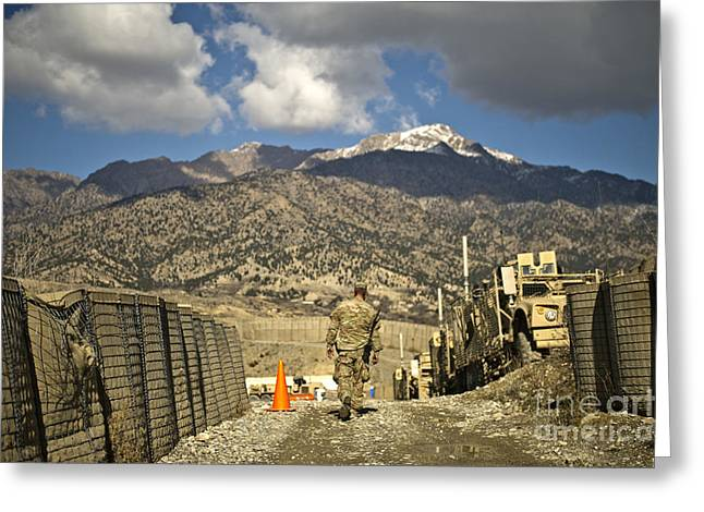Recently Sold -  - Base Path Greeting Cards - U.s. Army Soldier Walks Down A Path Greeting Card by Stocktrek Images