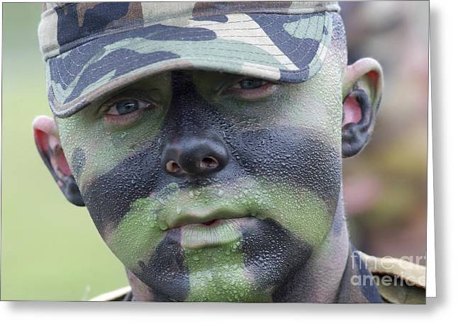Recently Sold -  - Sweating Greeting Cards - U.s. Army Soldier Wearing Camouflage Greeting Card by Stocktrek Images