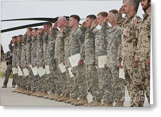 Merit Greeting Cards - U.s. Army Soldiers And Recipients Greeting Card by Terry Moore