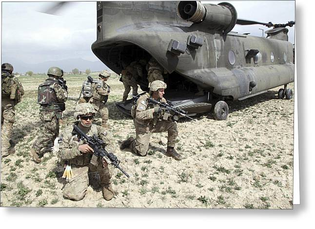 Brigade Greeting Cards - U.s. Army Soldiers Board A Ch-47 Greeting Card by Stocktrek Images