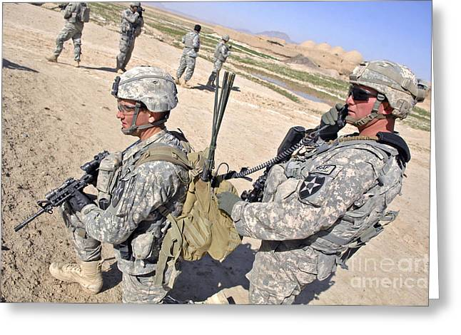 Manpack Greeting Cards - U.s. Army Soldiers Call In An Update Greeting Card by Stocktrek Images