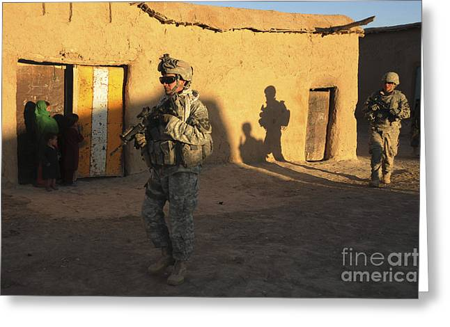 Urban Warfare Greeting Cards - U.s. Army Soldiers Conduct A Dismounted Greeting Card by Stocktrek Images