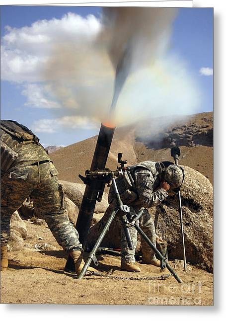 Zabul Greeting Cards - U.s. Army Soldiers Firing A 120mm Greeting Card by Stocktrek Images
