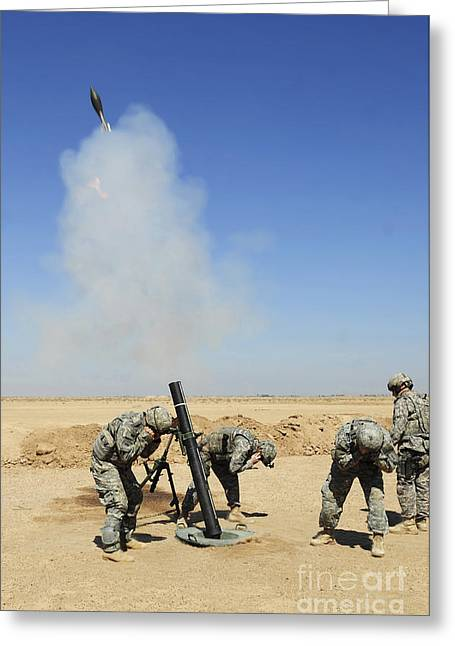 Iraq Greeting Cards - U.s. Army Soldiers Firing An M120 120mm Greeting Card by Stocktrek Images