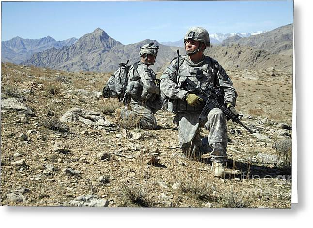 Zabul Greeting Cards - U.s. Army Soldiers Kneeling While Greeting Card by Stocktrek Images