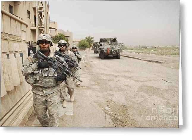 Baghdad Greeting Cards - U.s. Army Soldiers Moving To Their Next Greeting Card by Stocktrek Images