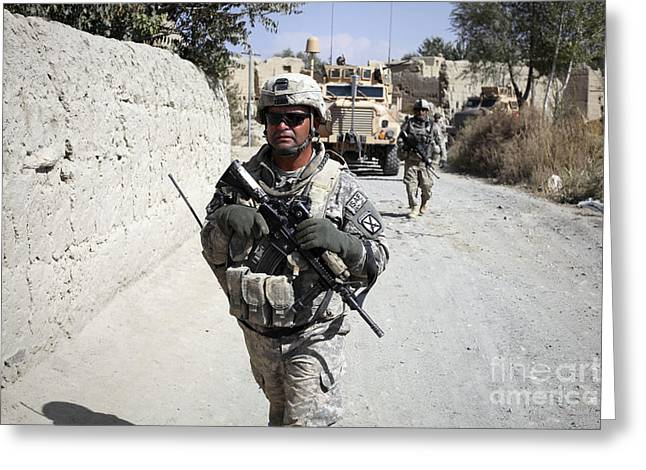 Foot Patrol Greeting Cards - U.s. Army Soldiers On A Foot Patrol Greeting Card by Stocktrek Images