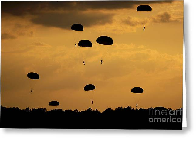 Colored Troops Greeting Cards - U.s. Army Soldiers Parachute Greeting Card by Stocktrek Images
