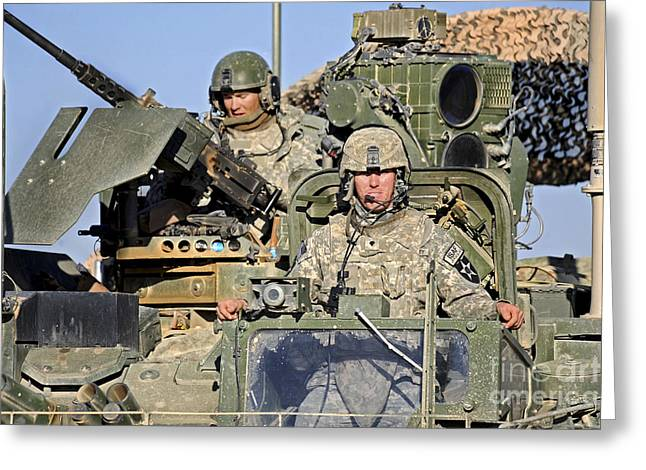 Up-armored Greeting Cards - U.s. Army Soldiers Patrol Afghanistan Greeting Card by Stocktrek Images