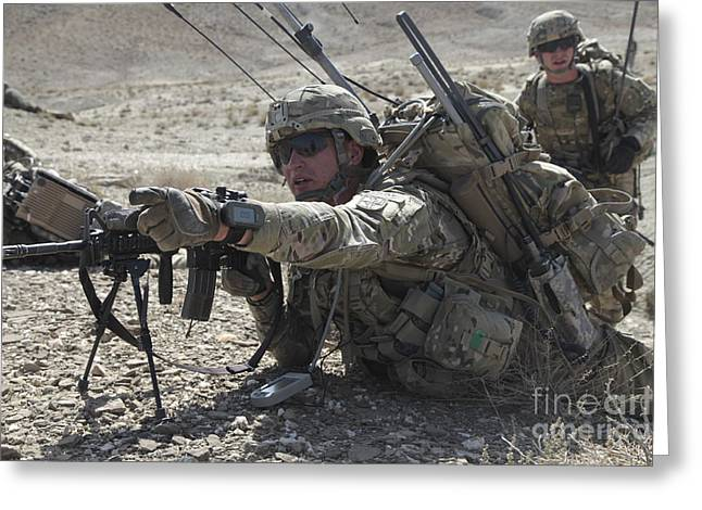Bipod Greeting Cards - U.s. Army Soldiers Provide Security Greeting Card by Stocktrek Images