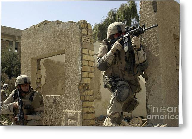 Baghdad Greeting Cards - U.s. Army Soldiers Reacting To Small Greeting Card by Stocktrek Images