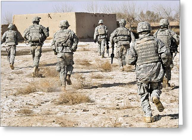 Operation Enduring Freedom Greeting Cards - U.s. Army Soldiers Respond To A Small Greeting Card by Stocktrek Images