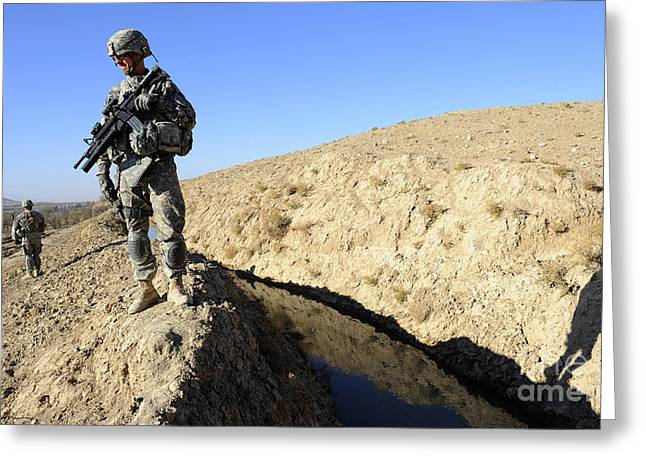 Zabul Greeting Cards - U.s. Army Soldiers Secure A Section Greeting Card by Stocktrek Images
