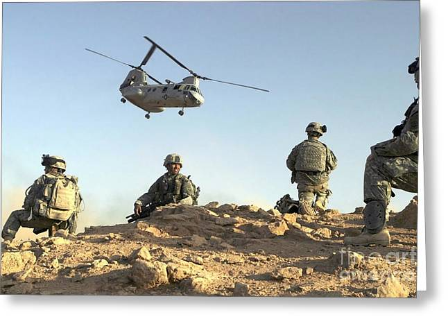 Baghdad Greeting Cards - U.s. Army Soldiers Set Up A Security Greeting Card by Stocktrek Images