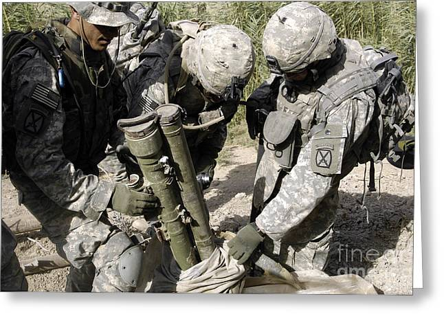 Baghdad Greeting Cards - U.s. Army Soldiers Uncovering Anti-tank Greeting Card by Stocktrek Images