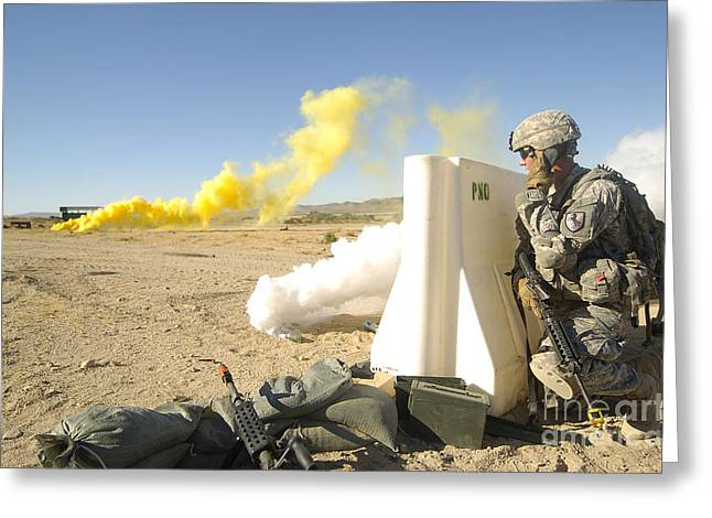 Field Telephone Greeting Cards - U.s. Army Specialist Calls In For An Greeting Card by Stocktrek Images