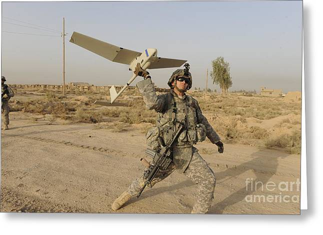 Iraq Photographs Greeting Cards - U.s. Army Specialist Launches An Rq-11 Greeting Card by Stocktrek Images