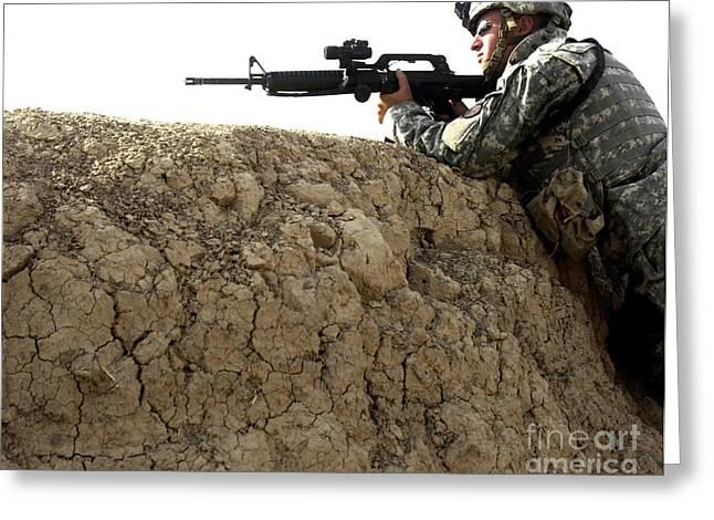 Baghdad Greeting Cards - U.s. Army Specialist Looking Greeting Card by Stocktrek Images