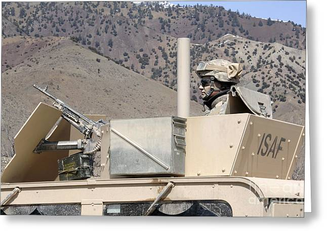 Hmmwv Greeting Cards - U.s. Army Specialist Scans His Sector Greeting Card by Stocktrek Images