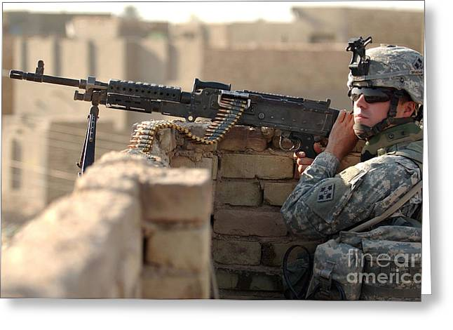 Fed Greeting Cards - U.s. Army Specialist Stands Security Greeting Card by Stocktrek Images