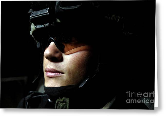 Recently Sold -  - Baghdad Greeting Cards - U.s. Army Specialist Waits To Dismount Greeting Card by Stocktrek Images