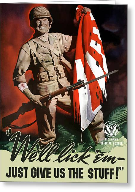 War Propaganda Greeting Cards - US Army World War Two Greeting Card by War Is Hell Store