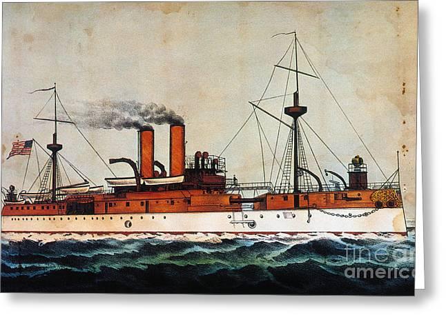 1898 Greeting Cards - U.s. Battleship Maine 1898 Greeting Card by Granger