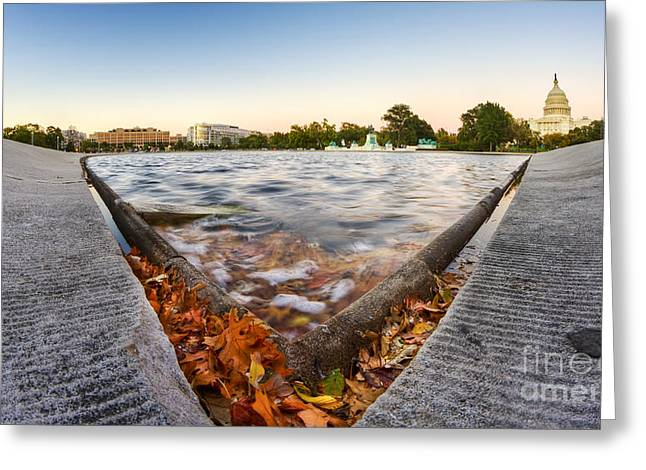 Us Capitol Greeting Cards - US Capital Reflecting Pond Greeting Card by Dustin K Ryan