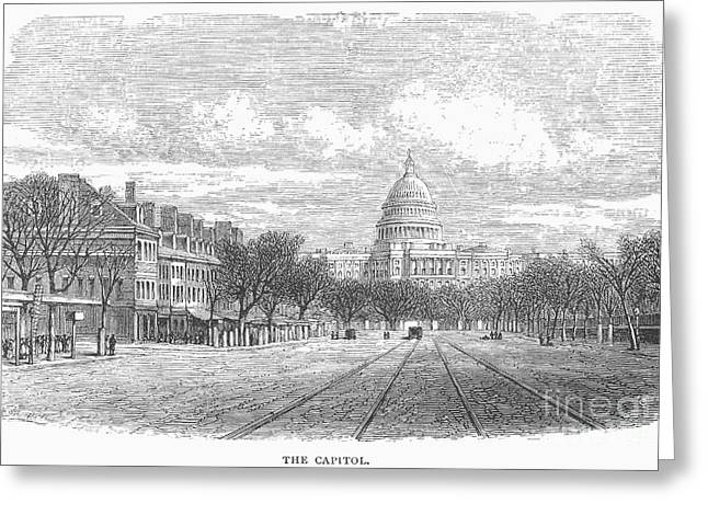 1870s Greeting Cards - U.S. CAPITOL, 1870s Greeting Card by Granger
