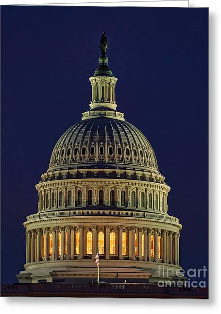 Federal Government Greeting Cards - U.S. Capitol at Night Greeting Card by Nick Zelinsky