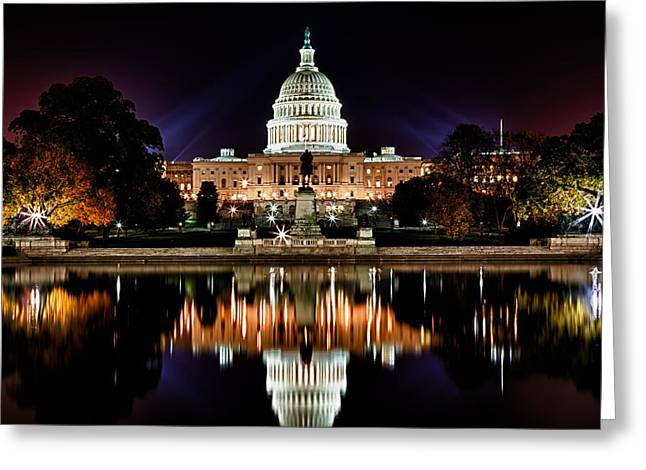 Blackrussianstudio Greeting Cards - US Capitol Building and Reflecting Pool at Fall Night 2 Greeting Card by Val Black Russian Tourchin