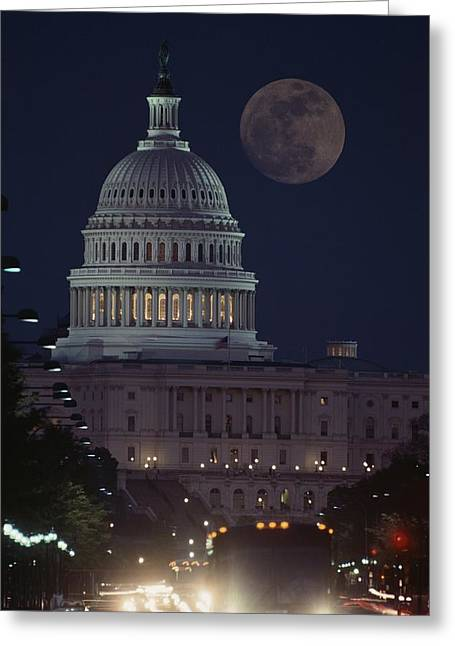 Governmental Greeting Cards - U.s. Capitol With Moon, Night View Greeting Card by Richard Nowitz