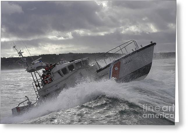 Wave Image Greeting Cards - U.s. Coast Guard Motor Life Boat Brakes Greeting Card by Stocktrek Images