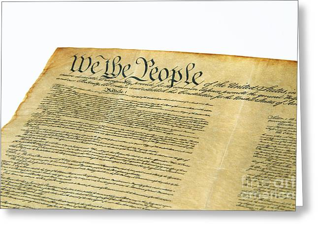 Historical Documents Greeting Cards - U.s Constitution Greeting Card by Photo Researchers, Inc.