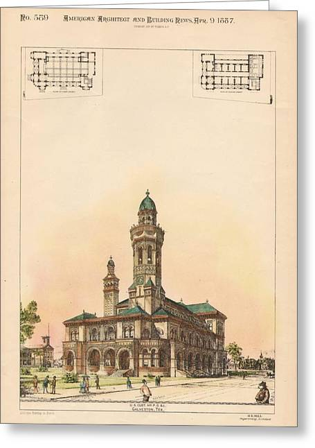 Galveston Paintings Greeting Cards - U.S. Custom House and Post Office. Gaveston TX. 1887 Greeting Card by M E Bell