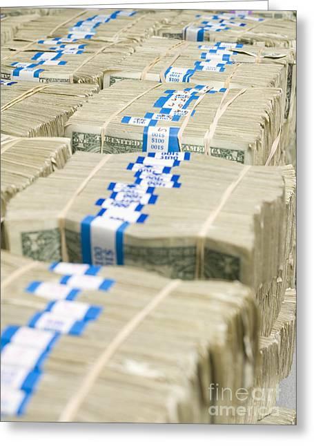 Enterprise Greeting Cards - US Dollar Bills in Bundles Greeting Card by Adam Crowley