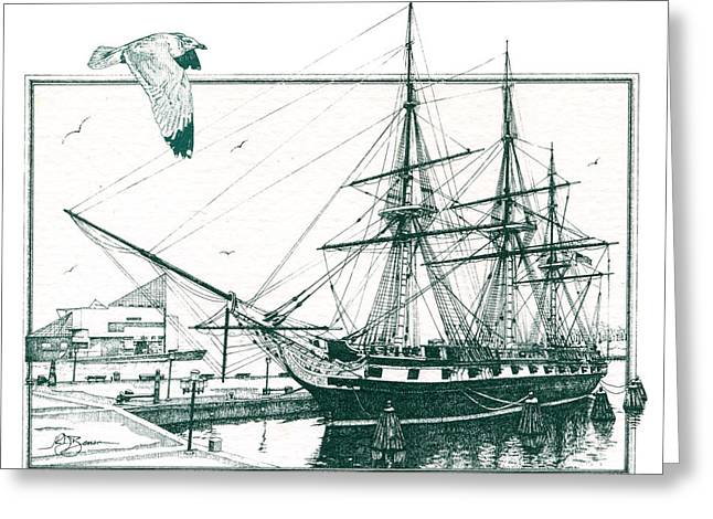 Constellations Drawings Greeting Cards - US Frigate Constellation Greeting Card by John D Benson