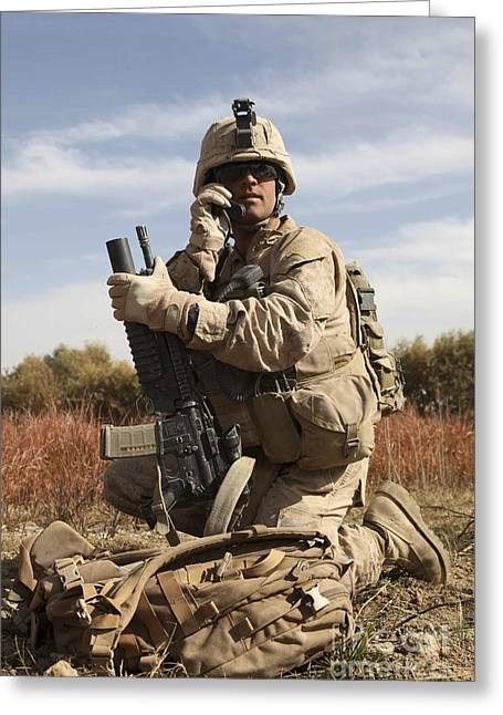 Sangin Greeting Cards - U.s. Marine Communicates Greeting Card by Stocktrek Images