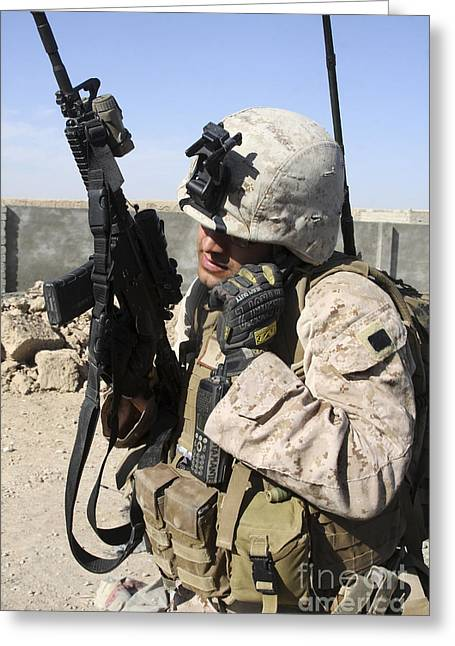 Field Telephone Greeting Cards - U.s. Marine Communicates With Fellow Greeting Card by Stocktrek Images
