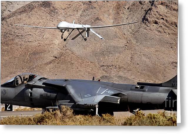 U.s. Marine Corps Greeting Cards - U.s. Marine Corps Av-8b Harrier Waits Greeting Card by Photo Researchers