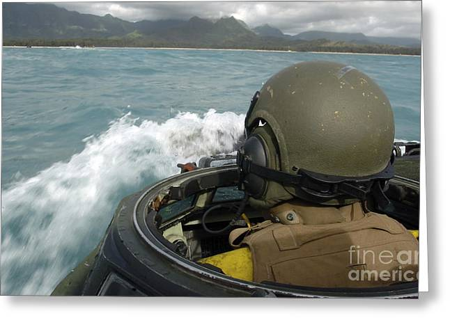 Amphibious Assault Ships Greeting Cards - U.s. Marine Driving An Amphibious Greeting Card by Stocktrek Images