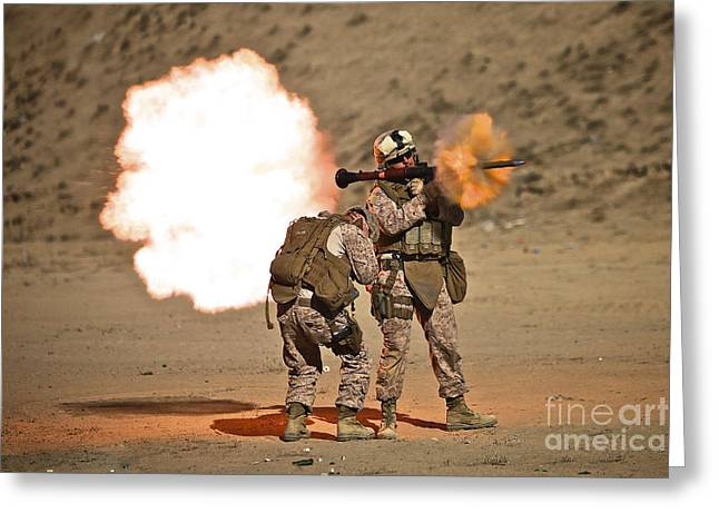 Shoulder-fired Greeting Cards - U.s. Marine Fires A Rpg-7 Grenade Greeting Card by Terry Moore