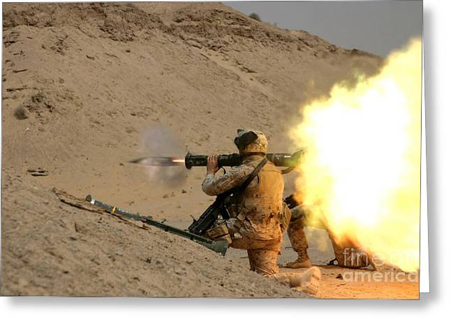 Launcher Greeting Cards - U.s. Marine Fires An M136 At4 Light Greeting Card by Stocktrek Images