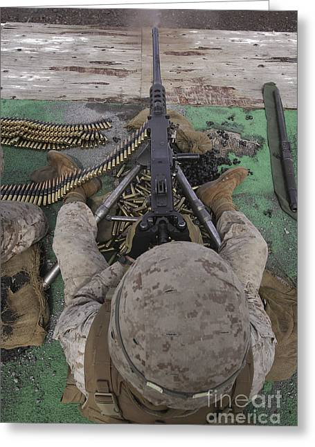 Fed Greeting Cards - U.s. Marine Fires An M2 .50-caliber Greeting Card by Stocktrek Images